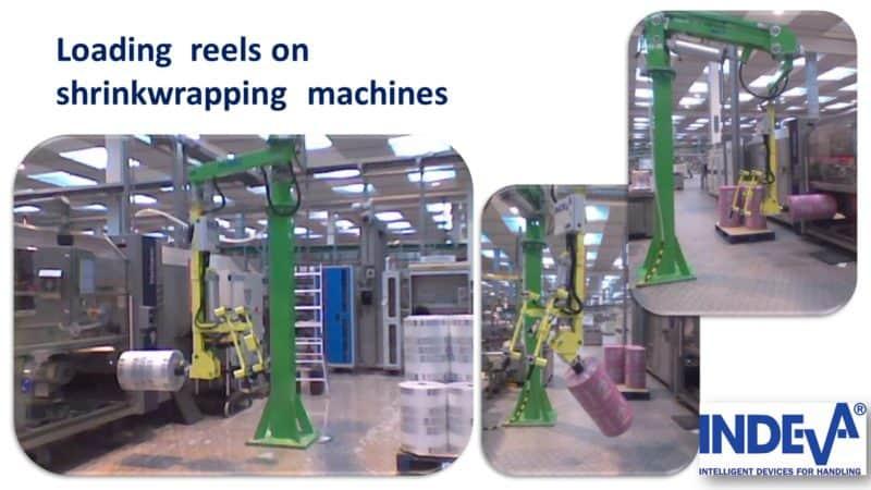 Nakladajte fóliové alebo papierové navijaky na baliacich strojoch