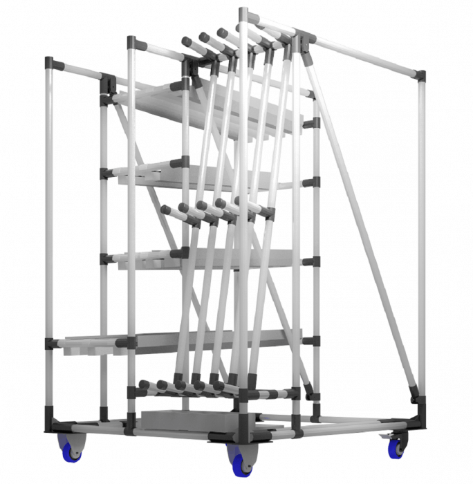 Modulárne nosné vozíky obrobkov navrhované spoločnosťou INDEVA sú ideálne pre riešenie mnohých problémov a potrieb, ktoré možno úplne prispôsobiť požiadavkám.