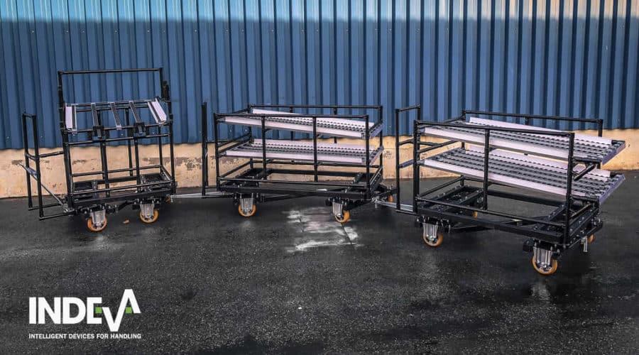 Ideálne pre manipuláciu v rôznorodých typoch prostredí a prispôsobiteľné akémukoľvek tvaru, ktorý treba prepravovať, modulárne ťažné vozíky INDEVA® možno ľahko pripojiť k automaticky riadeným vozidlám