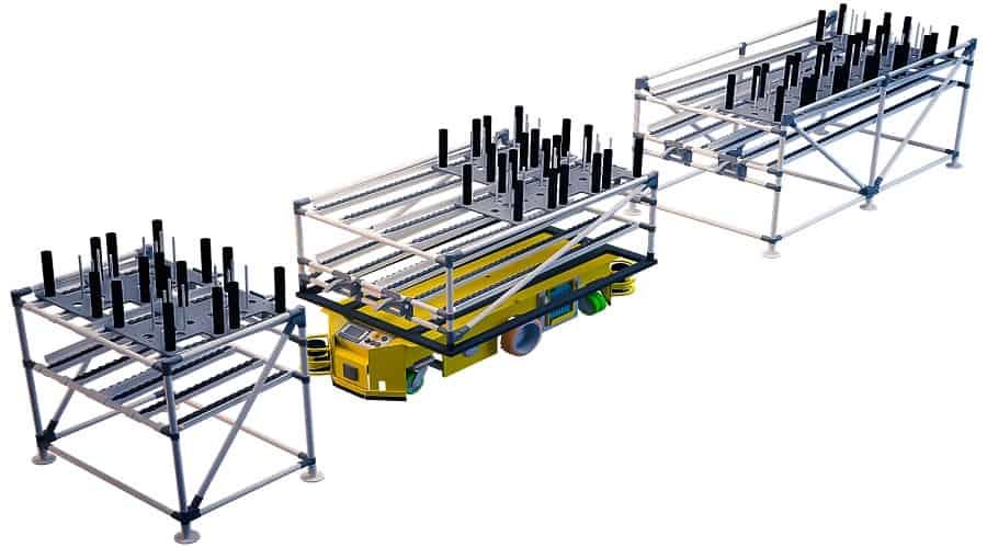 Naše modulárne vozíky shooter umožňujú obsluhe vyriešiť problém manipulácie s ťažkými bremenami prostredníctvom zavádzania podpier s gravitačnými valčekovými dopravníkmi