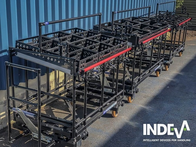 Vďaka presnej 3D simulácii našich modulárnych vozíkov kitting môžeme ponúknuť širokú škálu stojanov a riešení šitých na mieru pre skladovanie