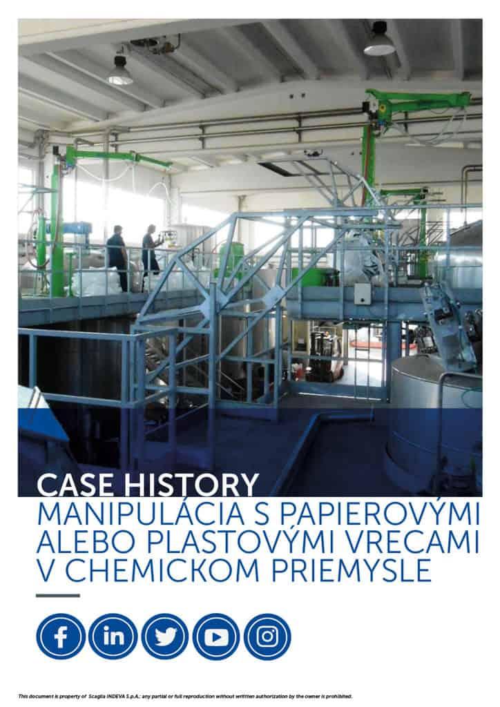 Prípadové štúdie INDEVA: manipulácia s papierovými a plastovými vrecami v chemickom priemysle v celkovej ergonómii a bezpečnosti, zvyšovanie produktivity.